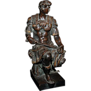 "1880's - 1890's Bronze Florence Figure ""Giuliano duke of Nemours""  copy of marble st"