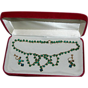 3 Pc Set, Necklace & Earrings with Green Glass Stones