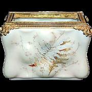 C F Monroe Signed Wavecrest Opal-ware Letter Holder in Egg Crate