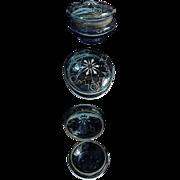 1890's Victorian Enameled Blue Glass Powder  Box / Jar