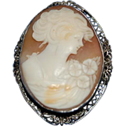 "Carved Cameo "" Beautiful Lady "" in Fancy Filligree Sterling Silver Bezel / Mounting"