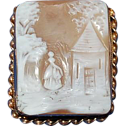 1880's Large Scarce Victorian Square Shaped Carved Scenic Shell Cameo w/ Maiden & Tower
