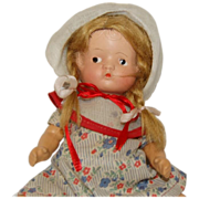 """SOLD 1930's Small Adorable 10"""" Composition Jointed Doll in Sun Suit & Pigtails"""