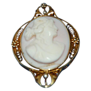 1900's Very Fine Angel Skin Pink Coral Oval Cameo set in 14K Gold Bezal
