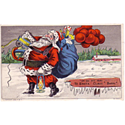 "Christmas Postcard of  ""Santa Claus is heading for His Barn"""