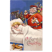 "Christmas Postcard of ""Santa and Sleeping Little Girl"" Artist Signed Clapsaddle"