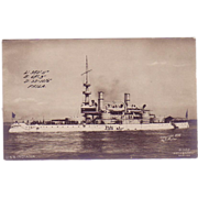 """RPPC Postcard with Photographic Image of """"USS Indiana"""""""