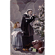 Christmas Postcard Santa in a Dark Robe Lighting Candles on a Christmas Tree