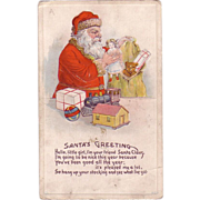 "Christmas Postcard of a ""Santa's Greeting Verse"""