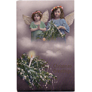 """Christmas Postcard with """" Two Darling Little Angels in the Clouds"""""""""""