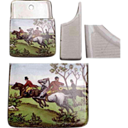 English Pottery Wall Hanging Match Safe / Match Holder with Hunting Scene