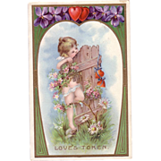 Beautiful Valentine Postcard with Flowers & Hearts