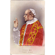 Rare Pope Pius XII Embroidered Postcard