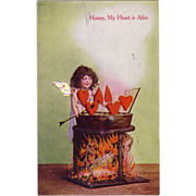 "Valentine Postcard "" My heart is Afire "" with Cupid and Love's Arrow"