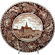 "Brown & White Historical Plate ""Independence Hall"" Philadelphia Pennsylvania"