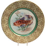 "1900's Hand Painted Bavarian P T Tirschenreth Fish Plate ""Cat Fish"""