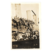 """RPPC """"USS Benham with a Deck View of 35 Sailors"""" in Photograph"""