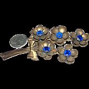 Vintage Brass Jewelry Large Flower Bouquet Brooch w/ Blue Stones