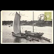 "Japanese  RPPC with "" 2 Sampans (Boats) from Hamataui"