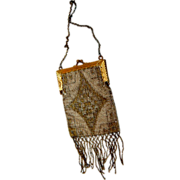 French 1920's Silver & Gold Beaded Hand Bag