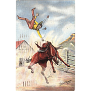 "Postcard "" Bucking Bronco Artist Signed  L. H .""Dude"" Larsen"""