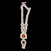 Dazzling Carmel Colored Topaz Rhinestones Necklace