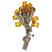 """Very Large Costume Pin / Brooch with a """"Bouquet of Flowers"""""""