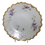 """12 1/8"""" Limoges France Charger Decorated w/ """"Lovely Violets"""" dates from the 189"""