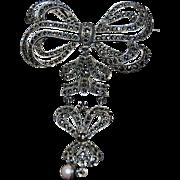 Fantastic & Beautiful Sterling Silver Lapel Pin / Brooch w/ Marcasites & Pearl Drop