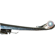 Sterling Silver Stylized Tie Clasp with a Pearl ( look alike )
