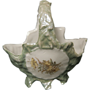 1900's - 1910's Little Light Green Porcelain German Basket w/ Cupid
