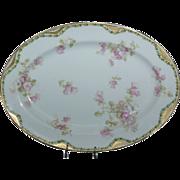 """Very Pretty Fancy Haviland 11 5/8"""" Platter w/ Pink Wild Roses"""