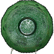 """Old Carnival Fenton Green Glass 8"""" Bowl in the Leaf Chain Pattern"""