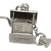 """Sterling Silver Charm for a Charm Bracelet of a """" Wishing Well """" with a little Bucke"""