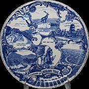 "Blue & White Souvenir Plate of the ""Mohawk Trail"""