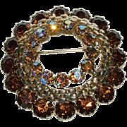 1930's -1940's Circular Shaped Pin w/ Topaz Looking Glass & Aurora Borealis Rainbow Rhinestone