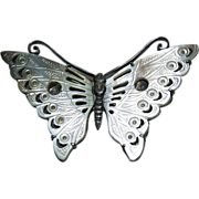 1890's Exotic Carved Mother of Pearl & Silver Butterfly Pin / Brooch