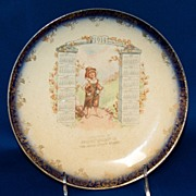 1914 Calendar Pottery Plate w/ Young Boy & Swiss Alps Mountain Scene