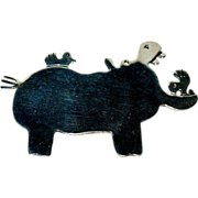 Happy Hippopotamus Mexican Sterling Pin