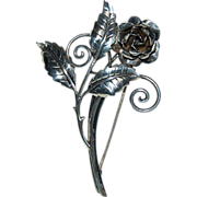 1930's - 1940's Sterling Silver Brooch / Pin w/ Rose Bloom & Leaves Design
