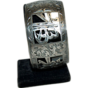 1940's-1950's Asian Sterling Silver Big Wide Cuff Bracelet w/ Cut Out Medallion Symbols