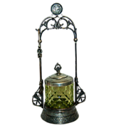 1880's-1890's Japanese Influence SP Pickle Castor w/ Vaseline Glass Jar & SP Tongs