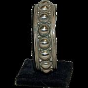 Very Heavy Sterling Siam ( Thailand ) Cuff Bracelet w/ Beading Design
