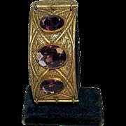 1900's-1920's Exotic Brass & Amethyst Glass Bracelet