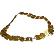 1890's - 1900's Chinese Hand Painted Mother of Pearl Belt