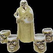 """1900's Macabre Figural Skeleton Liquor Bottle & 4 Figural Skeleton Heads marked """" Poison"""