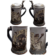 """Fine Etched # 2090 Mettlach Club Stein """"Woman and the Tavern"""""""