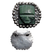 Mexican Sterling Silver Green Turquoise Carved Malayan God Mask Brooch