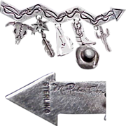 Very Western Cowboy/Indian Sterling Pin