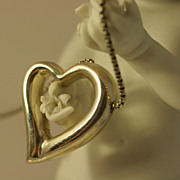 Vintage Italian Sterling Silver Heart Necklace